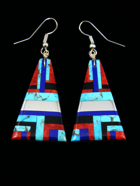 Lapis and Coral Santo Domingo Inlay Dangle Earrings