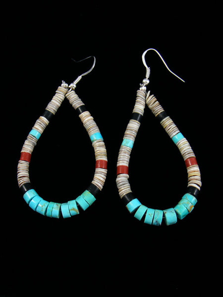 Jet and Shell Bead Santo Domingo Dangle Earrings