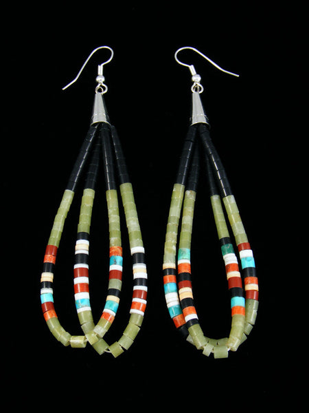 Serpentine and Turquoise and Heishi Dangle Earrings