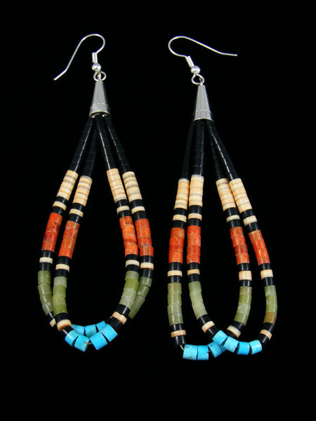 Apple Coral Turquoise and Heishi Dangle Earrings