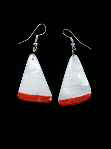 Navajo Mother of Pearl and Coral Dangle Earrings