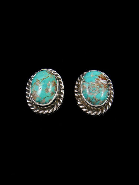 Navajo Sterling Silver Post Turquoise Earrings