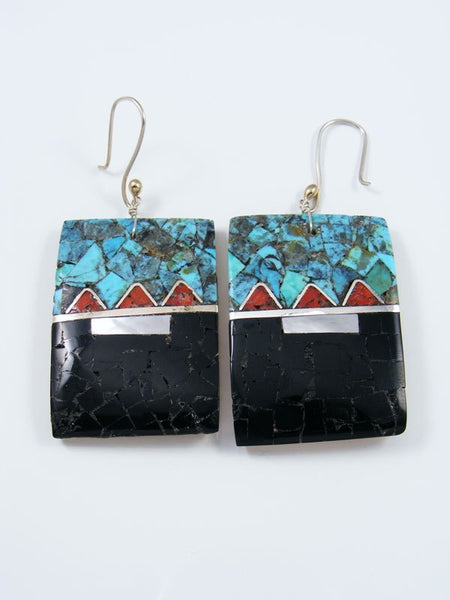 Mosaic Black Jet and Turquoise Santo Domingo Inlay Earrings
