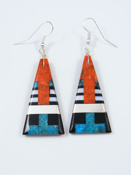 Santo Domingo Inlay Apple Coral Dangle Earrings