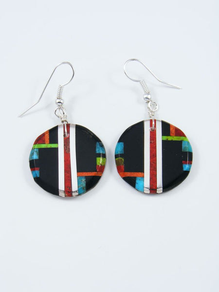 Santo Domingo Inlay Black Jet Mosaic Dangle Earrings