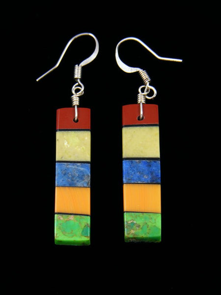 Navajo Lapis Mosaic Dangle Earrings