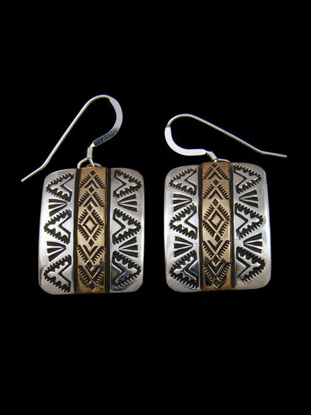 Native American Jewelry Gold and Sterling Silver Dangle Earrings