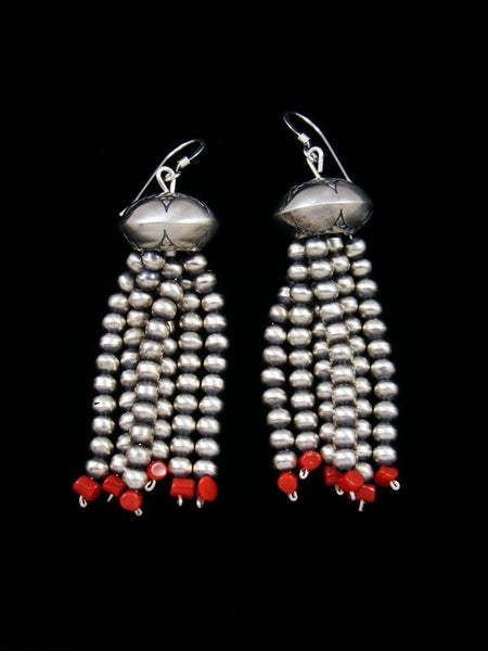 Navajo Sterling Silver Coral Bead Dangle Earrings