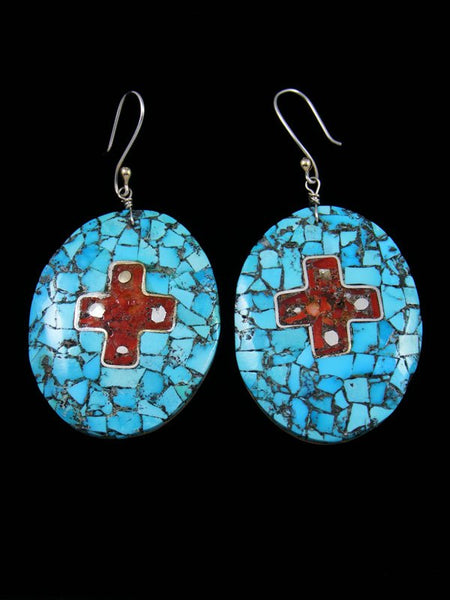 Mosaic Coral and Turquoise Santo Domingo Inlay Earrings