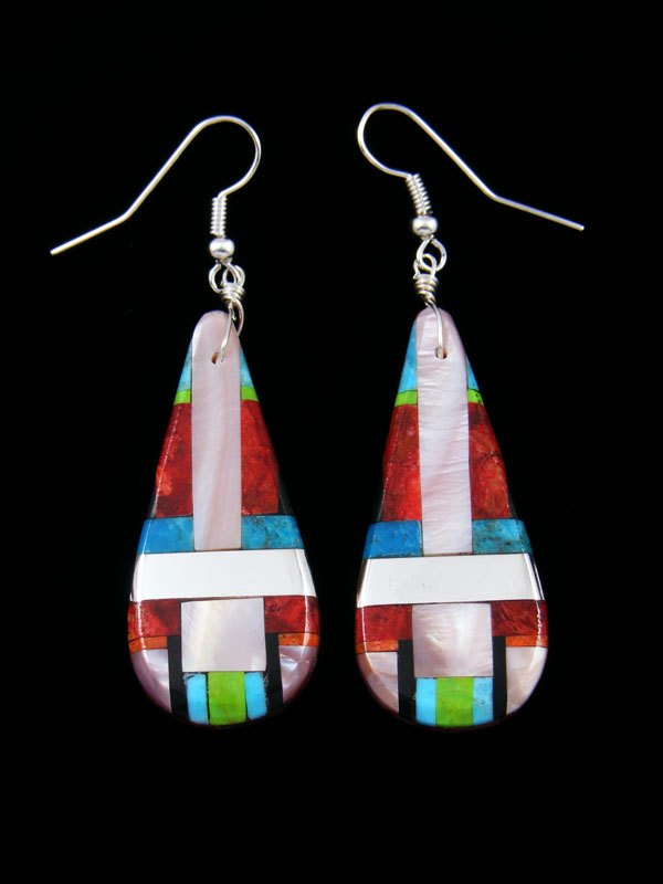 Santo Domingo Inlay Turquoise Mosaic Dangle Earrings