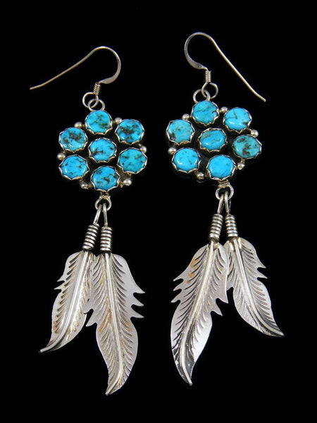 Navajo Turquoise Feather Dangle Earrings