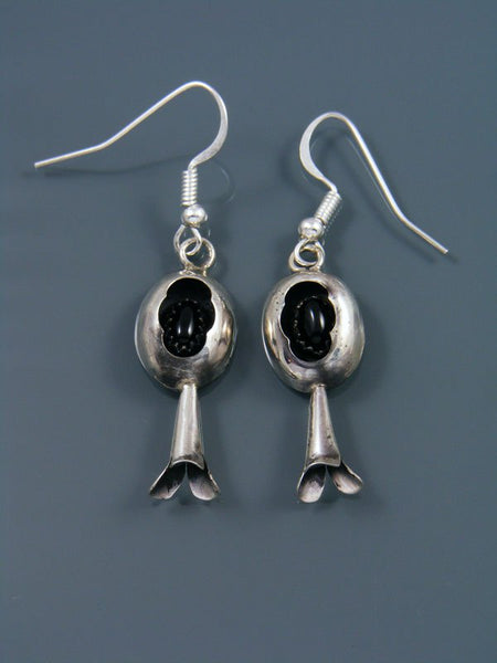 Navajo Sterling Silver Onyx Earrings with Flute