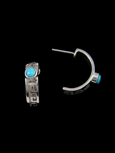 Navajo Sterling Silver Turquoise Half Hoop Post Earrings
