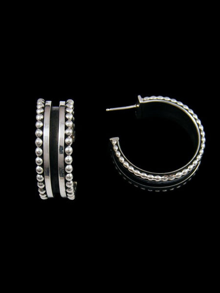 Navajo Sterling Silver Half Hoop Post Earrings