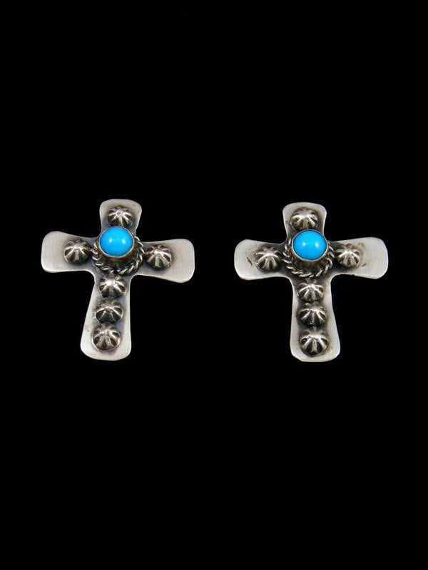 Native American Jewelry Turquoise Cross Post Earrings