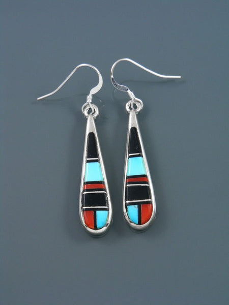 Black Onyx, Turquoise, and Coral Inlay Dangle Earrings