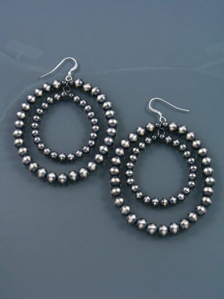 Native American Indian Jewelry Silver Bead Double Hoop Dangle Earrings