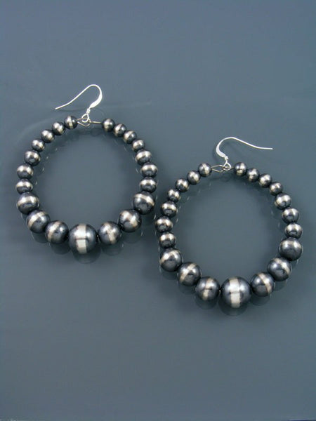 Native American Indian Jewelry Silver Bead Hoop Dangle Earrings