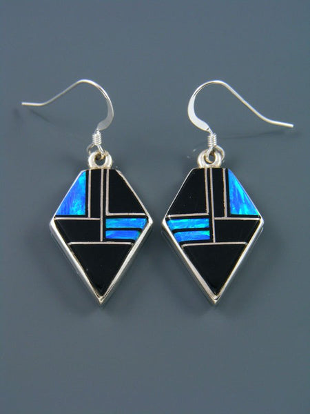 Black Onyx and Opalite Inlay Dangle Earrings