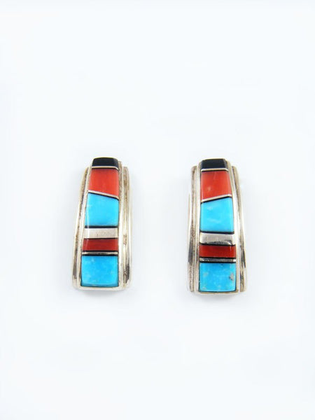 Navajo Black Onyx, Turquoise and Coral Inlay Post Earrings