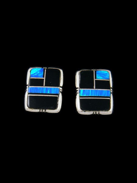 Navajo Black Onyx and Opalite Inlay Post Earrings