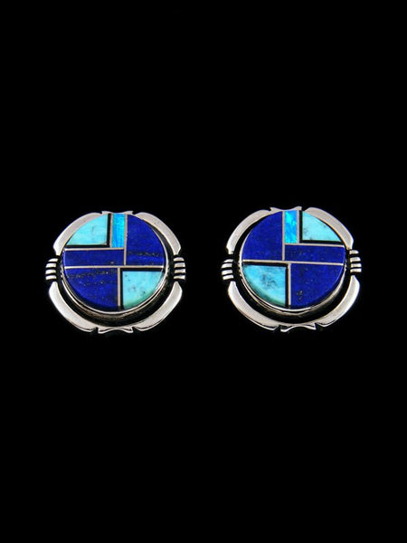Navajo Lapis and Turquoise Inlay Post Earrings