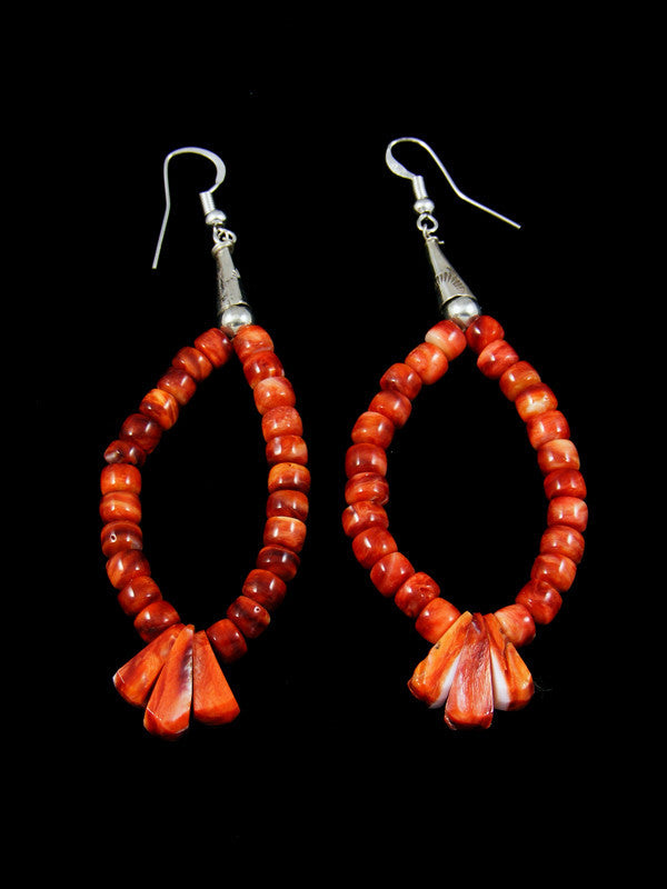 Navajo Spiny Oyster Dangle Earrings