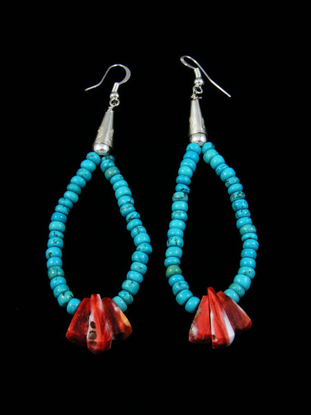 Coral and Turquoise Bead Earrings