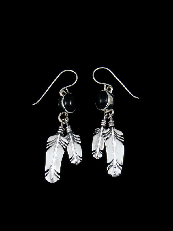 Navajo Sterling Silver and Onyx Double Feather Earrings