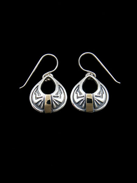 Navajo Gold and Sterling Silver Dangle Earrings
