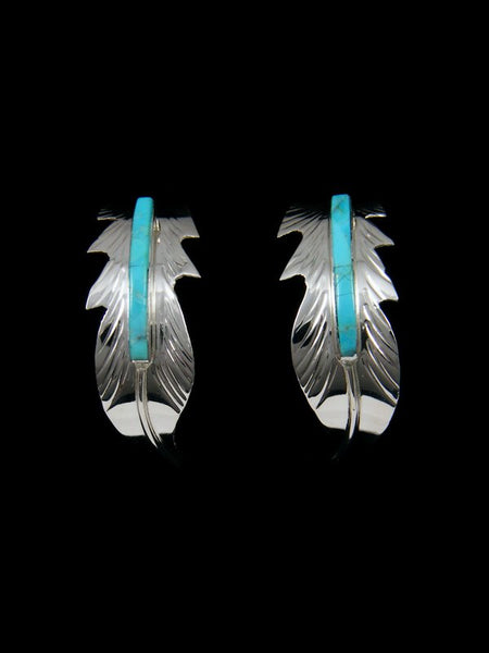Navajo Sterling Silver Turquoise Inlay Feather Post Earrings