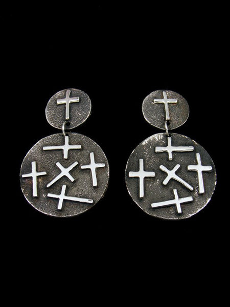 Sterling Silver Navajo Cross Overlay Post Earrings