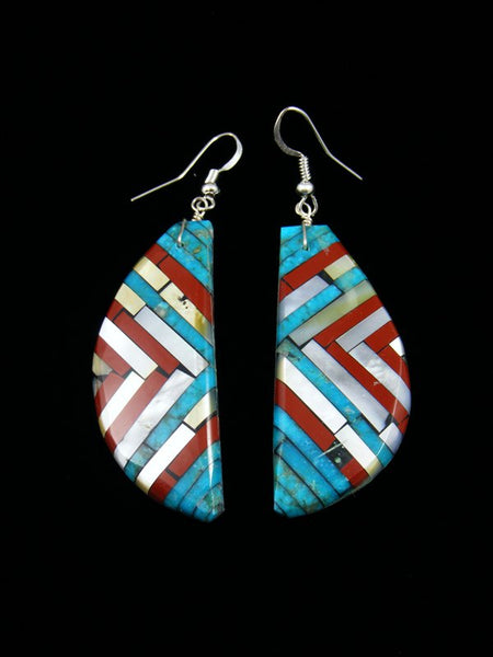 Santo Domingo Turquoise and Coral Inlay Earrings