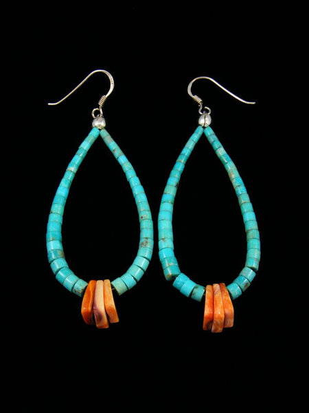 Spiny Oyster and Turquoise Bead Dangle Earrings