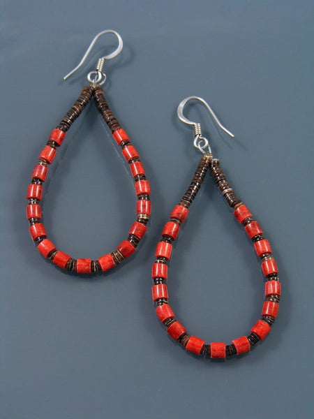 Navajo Coral and Heishi Bead Dangle Earrings