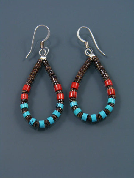 Copy of Navajo Turquoise, Coral and Heishi Bead Dangle Earrings