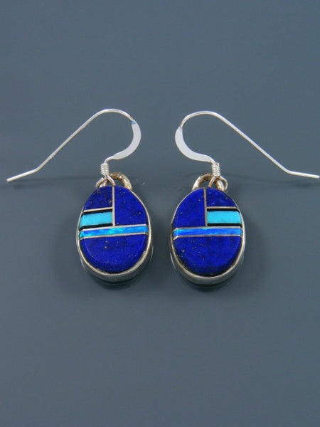 Lapis Inlay Dangle Earrings