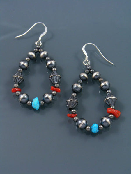 Native American Indian Jewelry Silver Bead Dangle Earrings