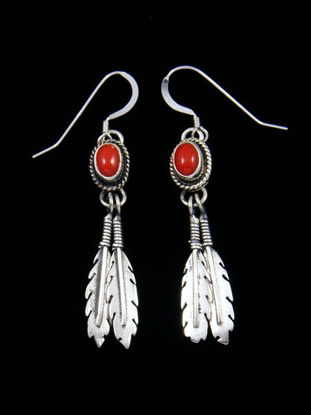 Native American Sterling Silver Coral Dangle Feather Earrings