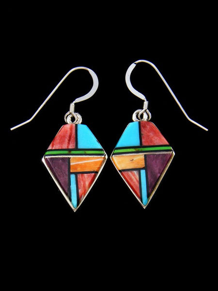 Native American Inlay Multi Stone Dangle Earrings