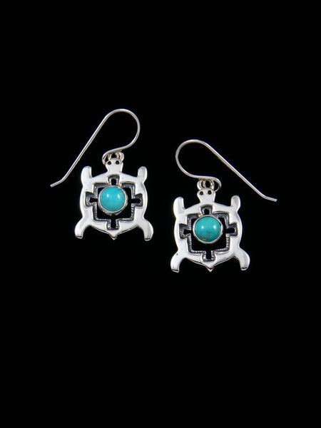 Native American Sterling Silver Turquoise Turtle Earrings