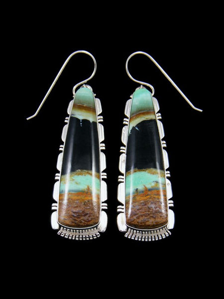 Native American Blue Opalized Petrified Wood Sterling Silver Dangle Earrings