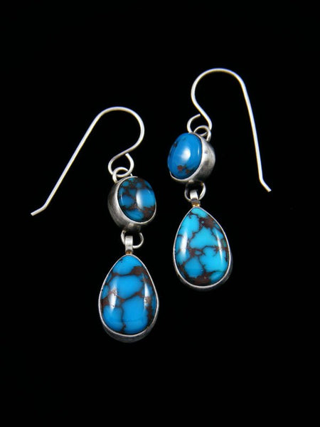 Egyptian Turquoise Sterling Silver Dangle Earrings