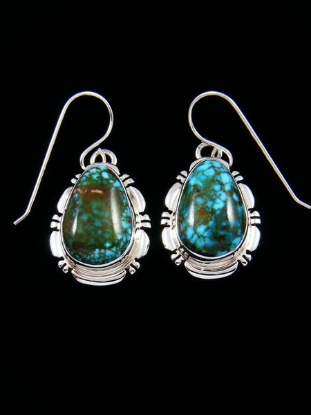 Native American Sterling Silver Kingman Red Web Turquoise Dangle Earrings