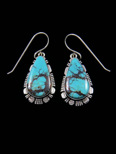 Native American Sterling Silver Egyptian Turquoise Dangle Earrings