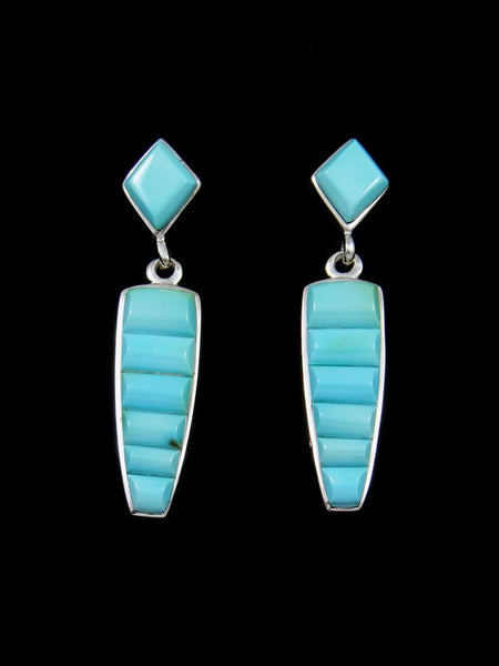 Cornrow Inlay Blue Moon Turquoise Earrings