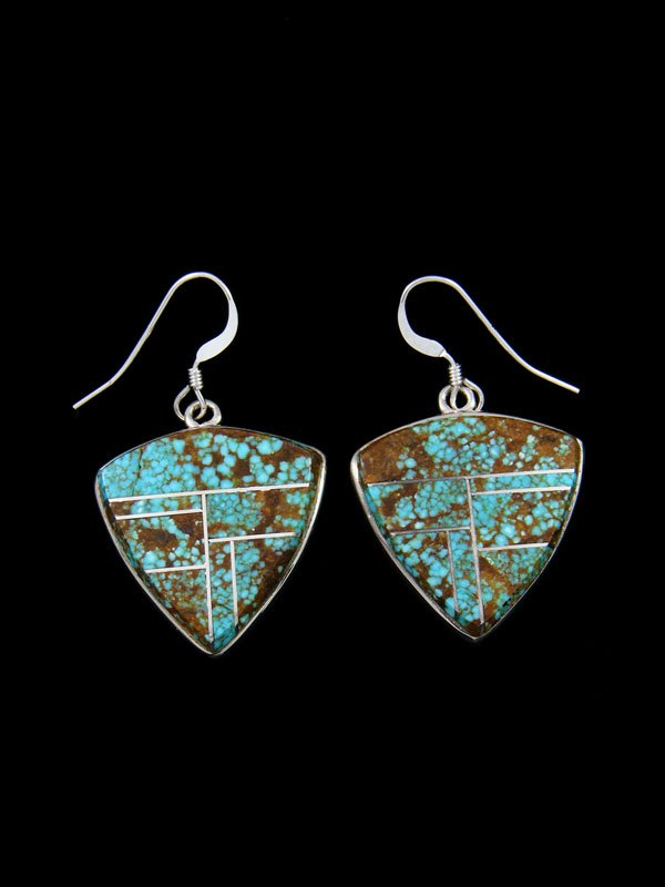 Navajo Sterling Silver Dangle Number 8 Turquoise Earrings