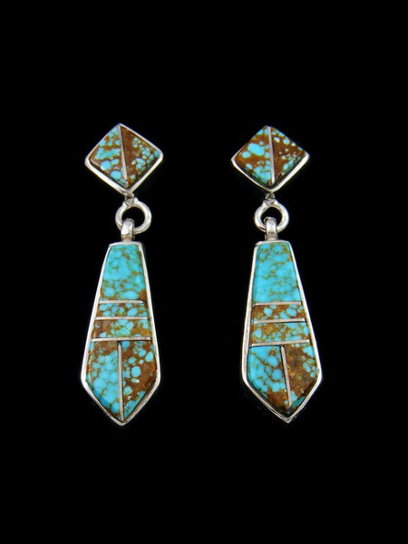 Navajo Sterling Silver Post Number 8 Turquoise Earrings