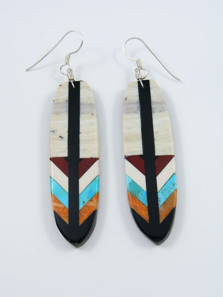 Mosaic Jet and Serpentine Santo Domingo Inlay Earrings