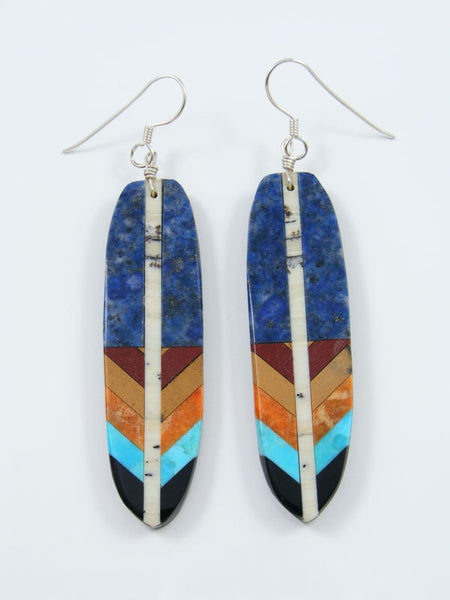 Mosaic Lapis Feather Santo Domingo Inlay Earrings
